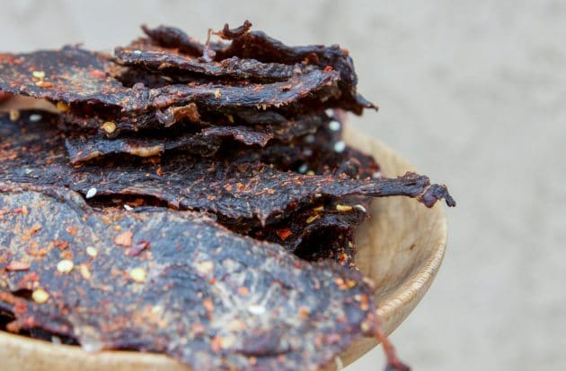 jerky on a wooden bowl
