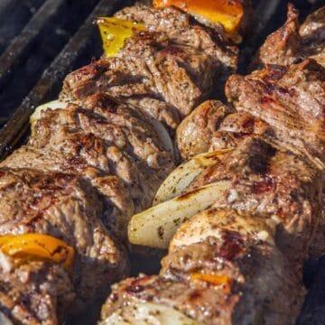 shish kabob on the grill