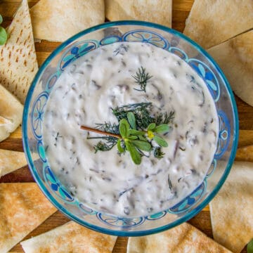 purslane dip and chips