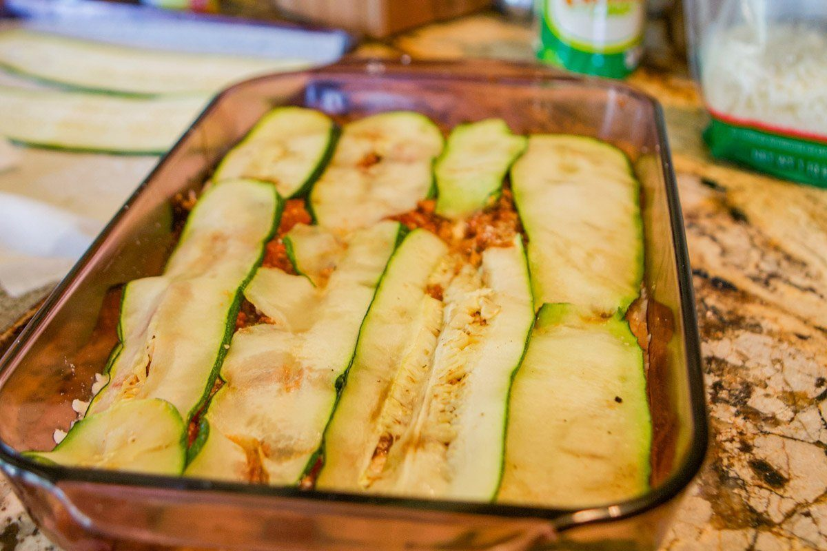 zucchini strips used in lasagna