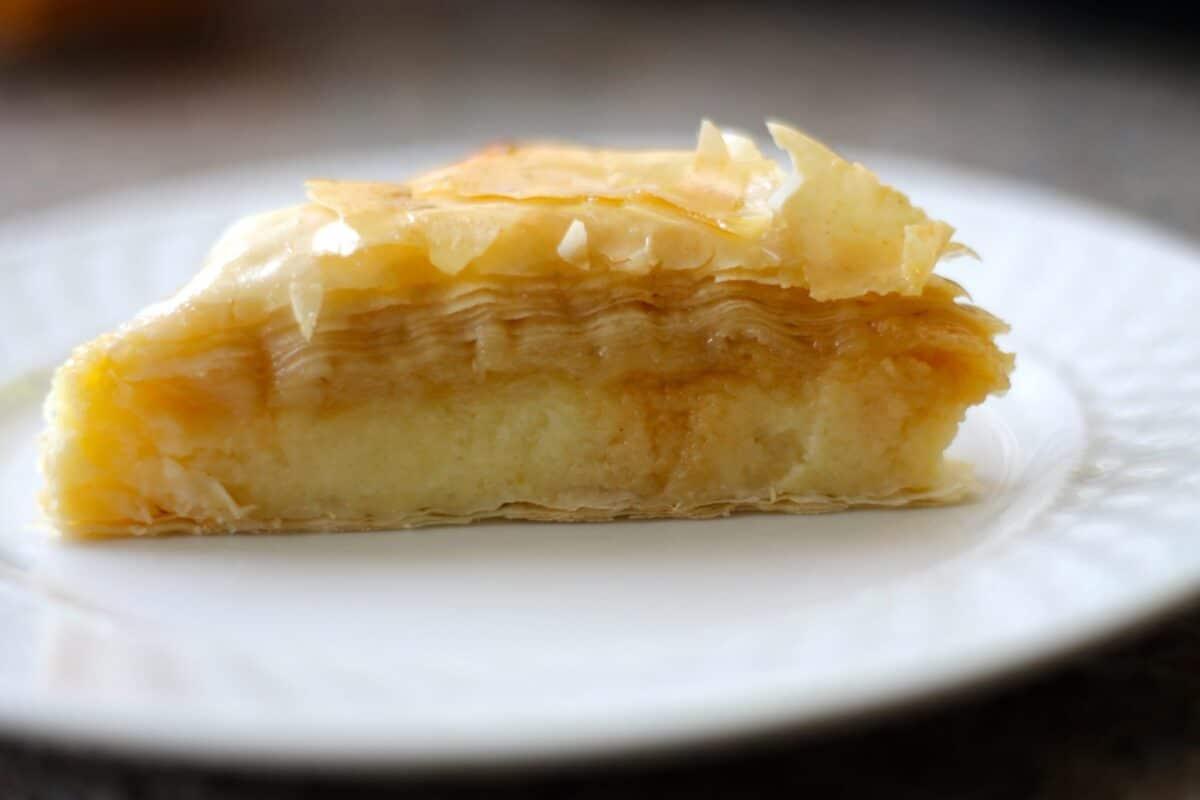 GALAKTOBOUREKO custard filled Fillo on a white plate