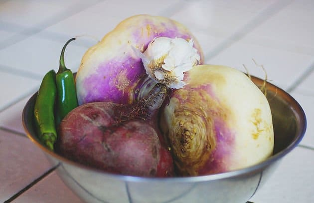 turnips and beets in a bowl