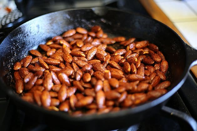 almonds in a cast iron pan
