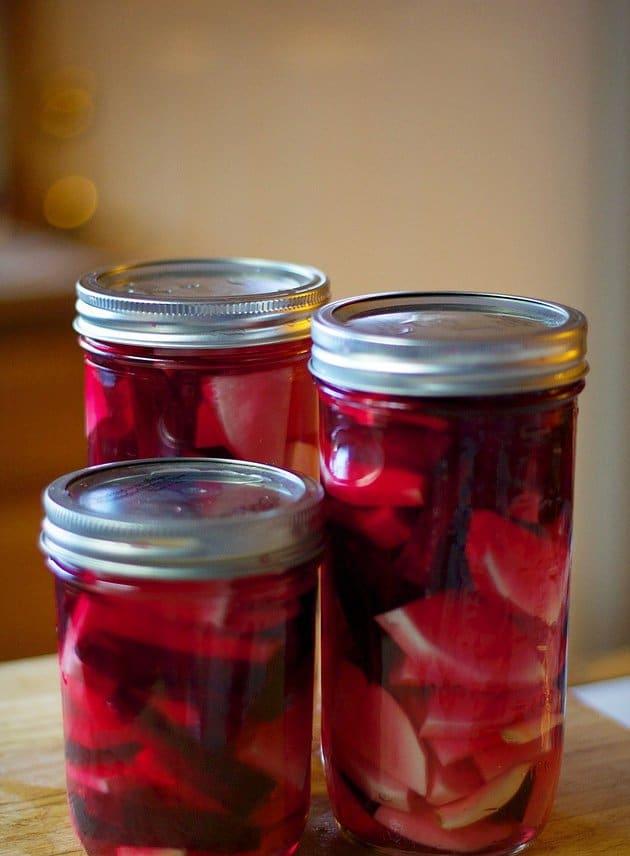 pickled turnips in 3 glass jars