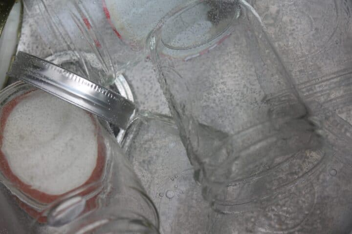 sterilizing jars in boiling water