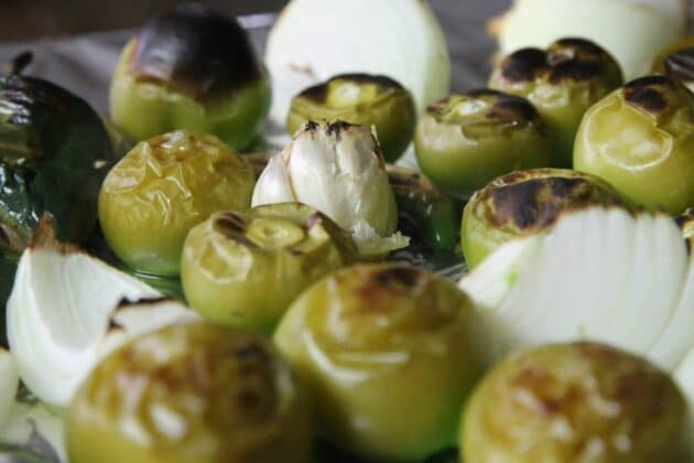 roasted tomatillos, peppers, and onions
