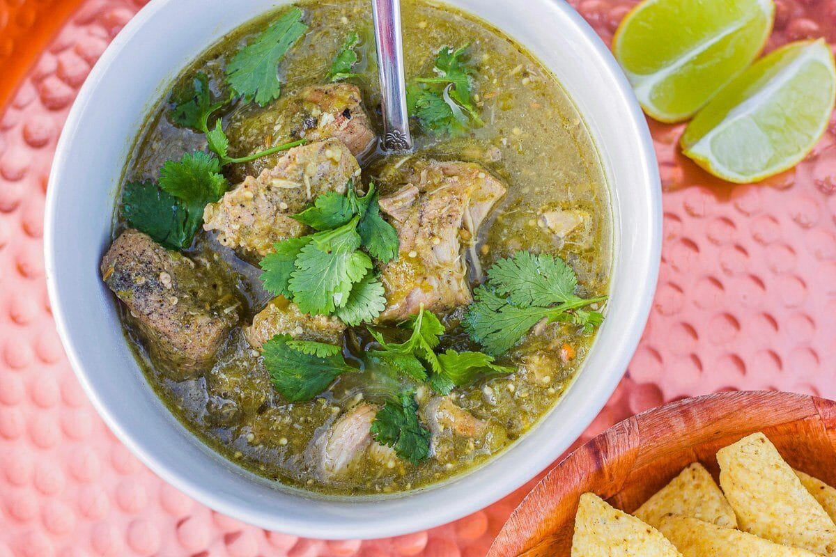 chili verde in a white bowl