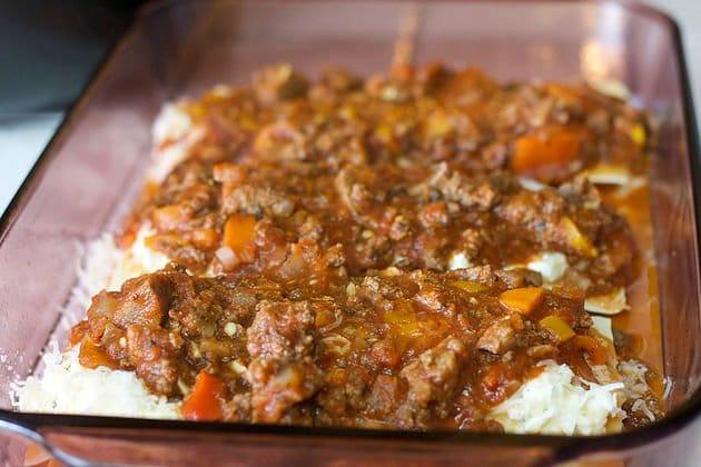 extra easy Lasagna in a pan
