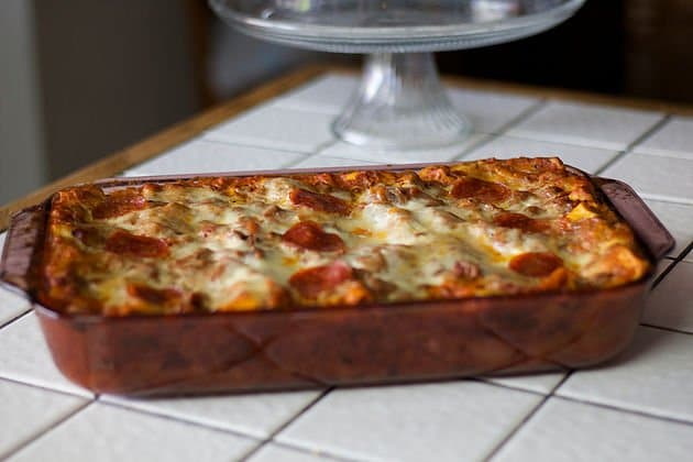 extra easy lasagna on a white tiled counter