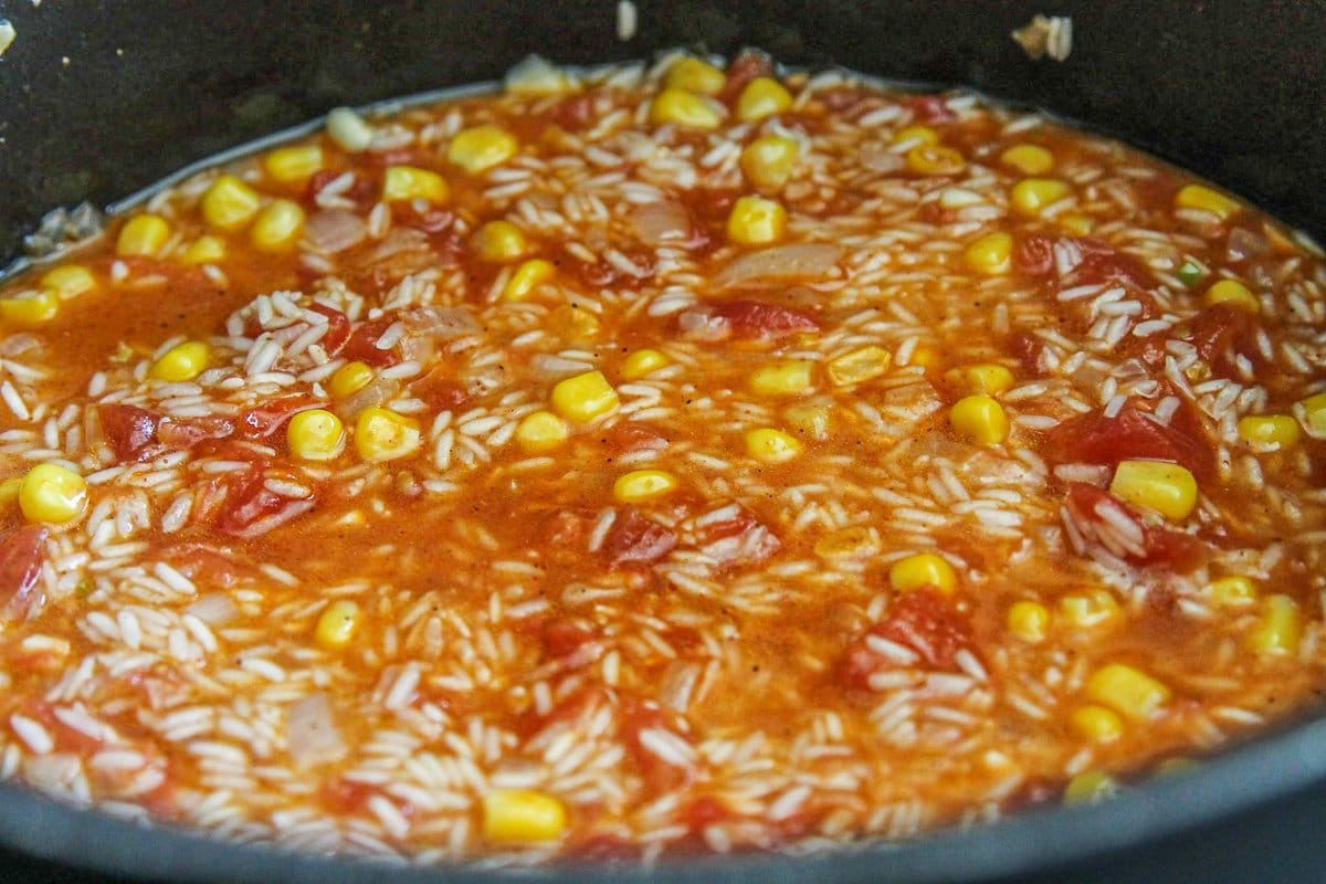 Spanish rice being cooked