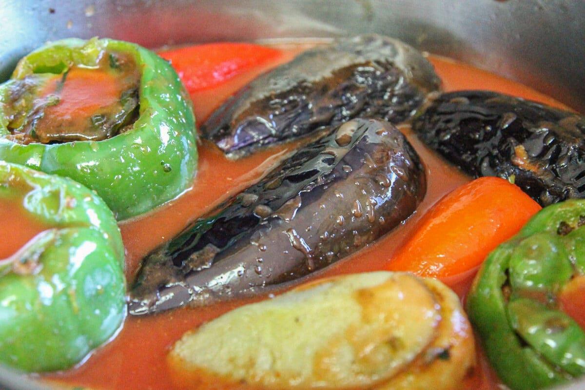 stuffed veggies in tomato sauce