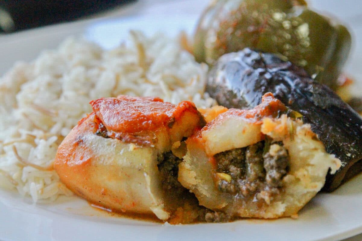 stuffed vegetables and rice