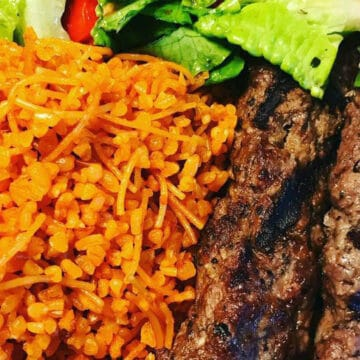 bulgur, salad, and kabob