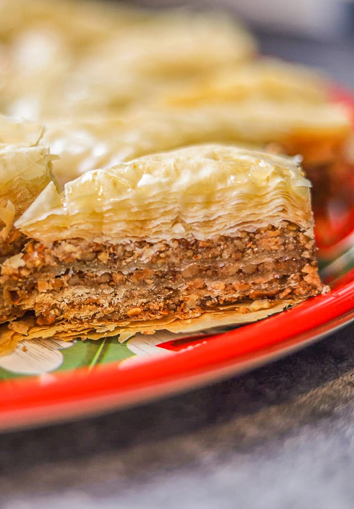close up of baklawa on a Christmas plate