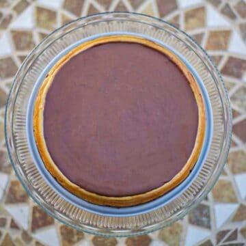 Kahlua coffee cheesecake on a tiled table