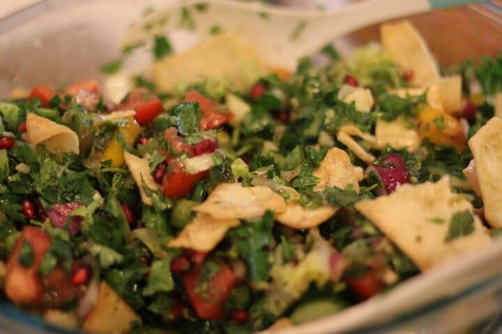 fattoush salad with pita chips on top