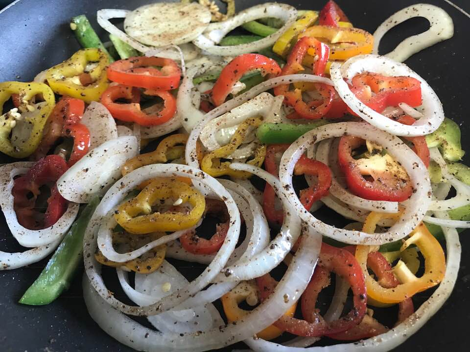onions, peppers sliced