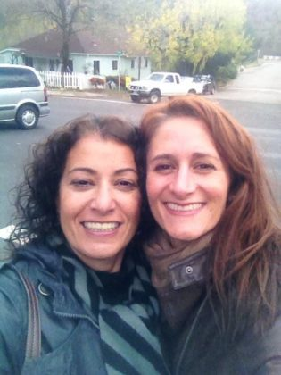 two ladies in the road in Julian ca