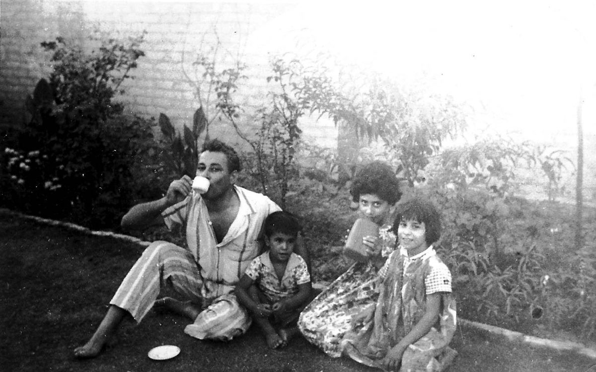 a family in a garden in Iraq