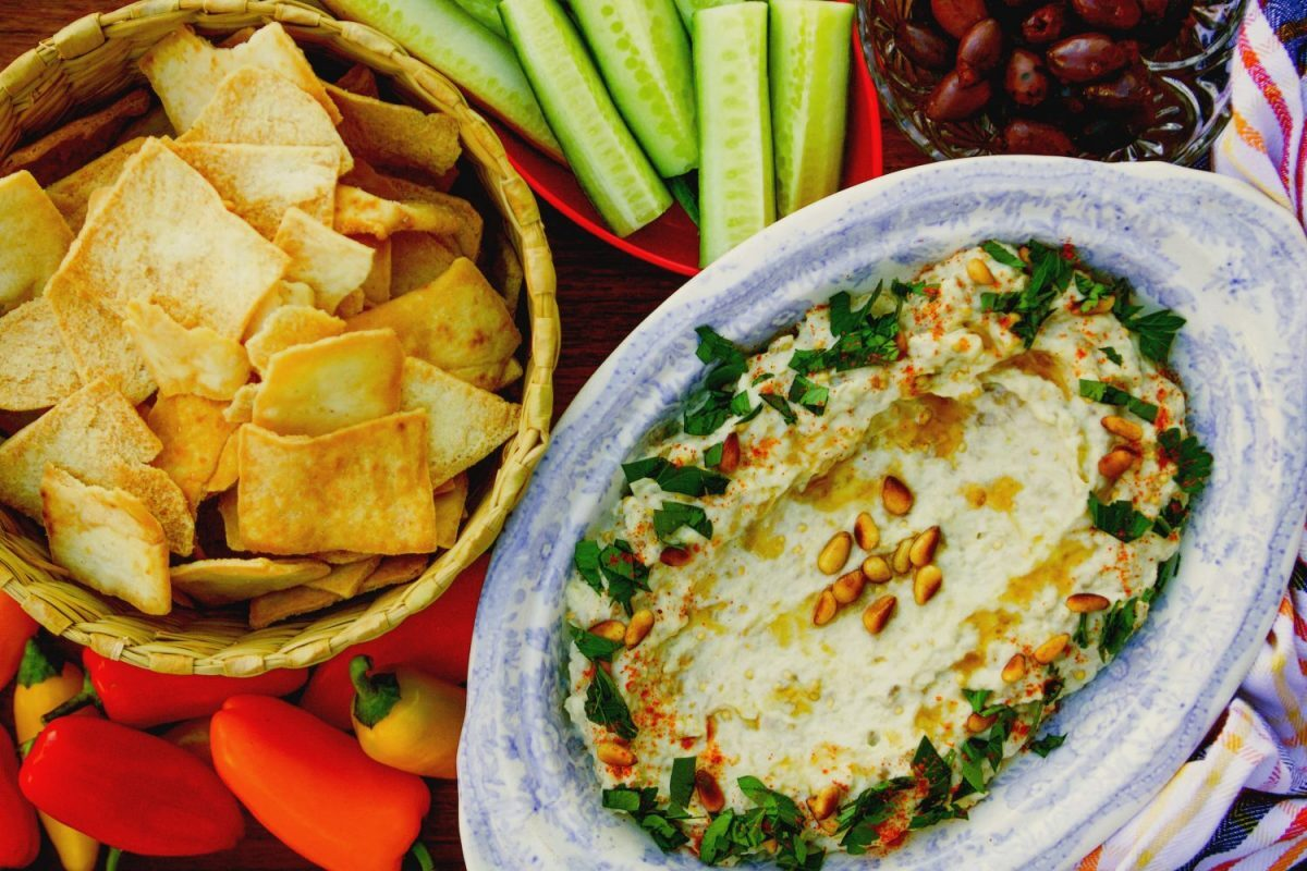 Baba Ghanoush dip with chips and veggies