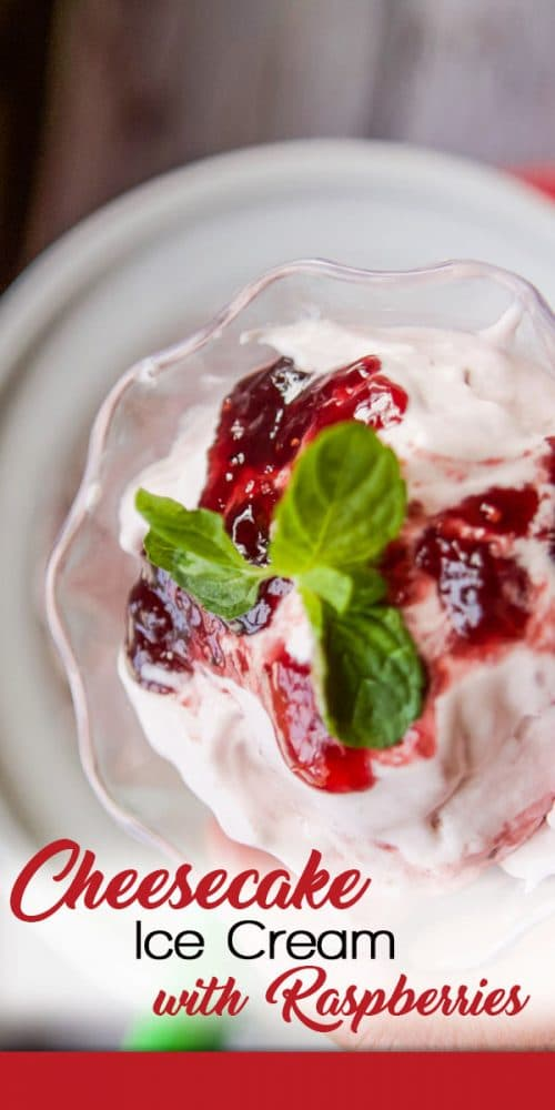 ice cream with raspberries