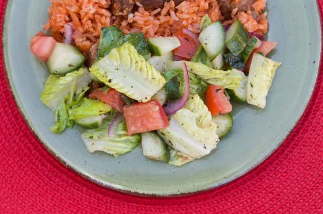 salad and red rice