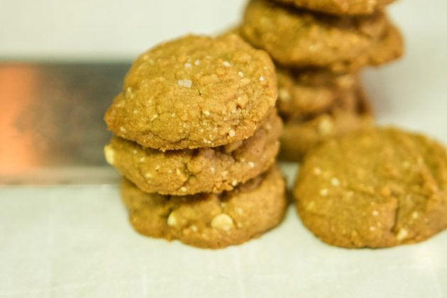 stacked low carb cookies with peanuts