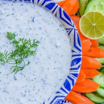 yogurt dip with veggies