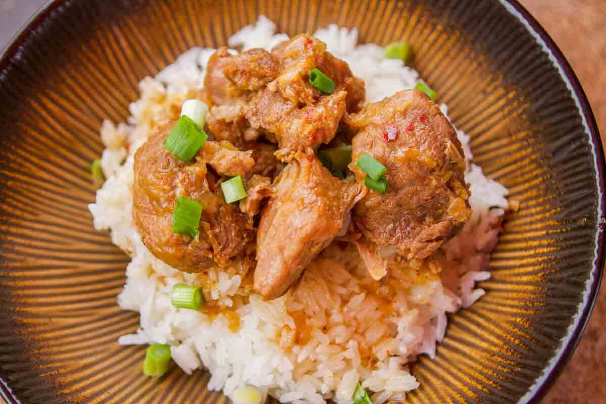 pork adobo on rice in a bowl