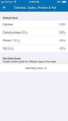 fitness pal app screen shot, macro tracker app