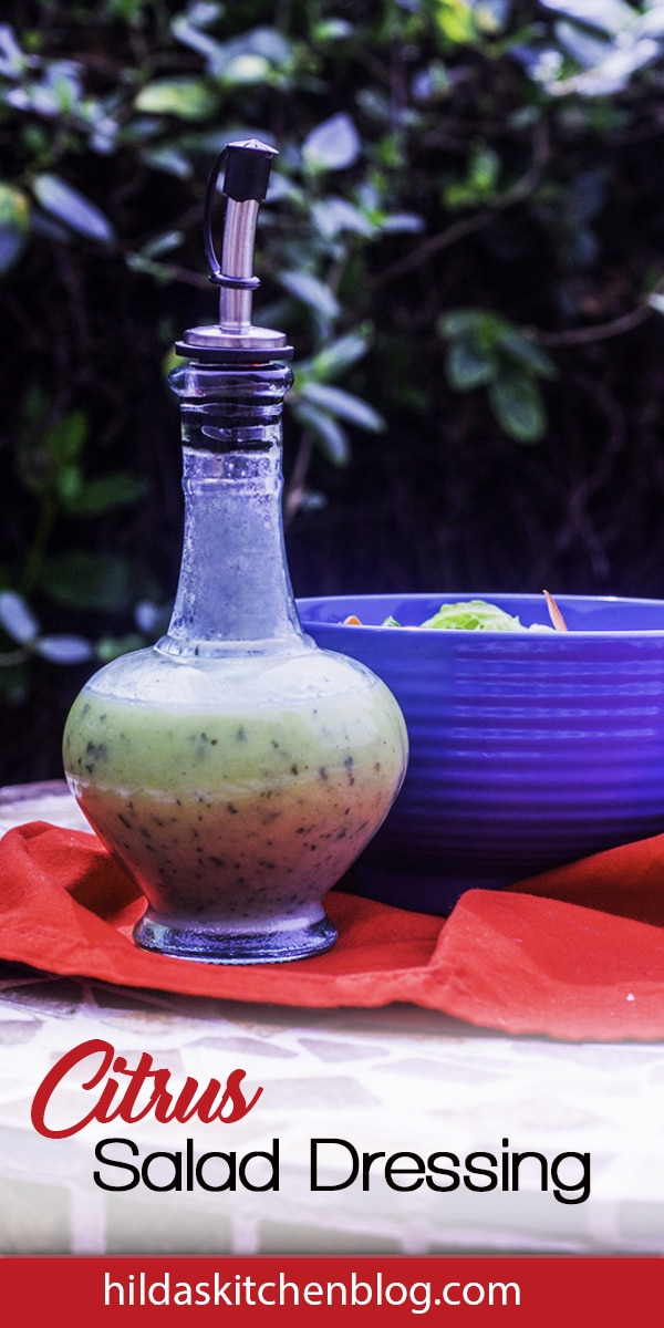 salad dressing in a bottle on the table outside