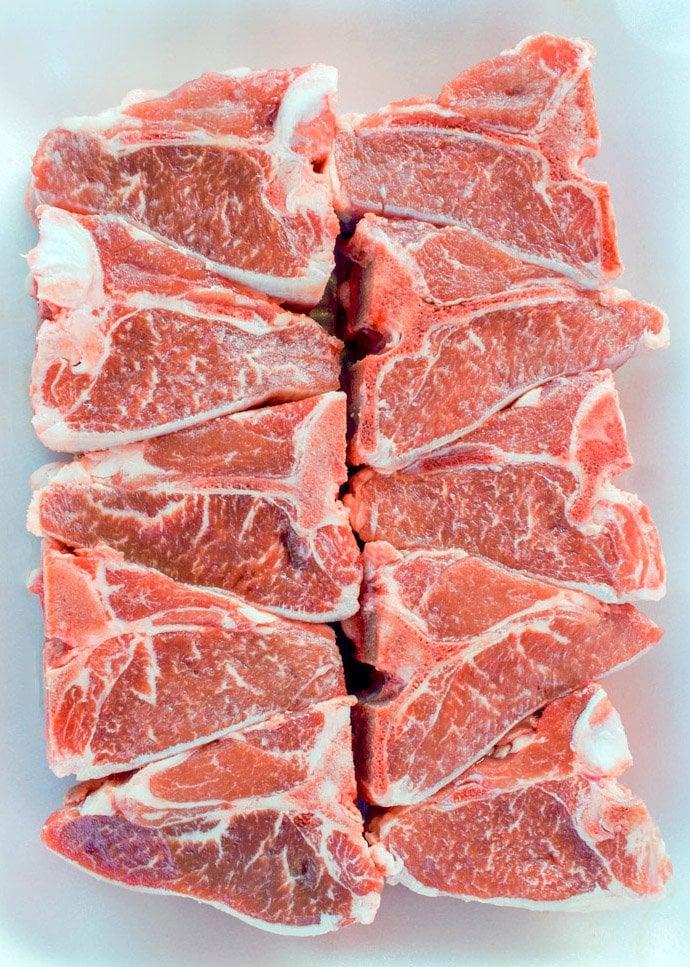 lamb loin chops raw