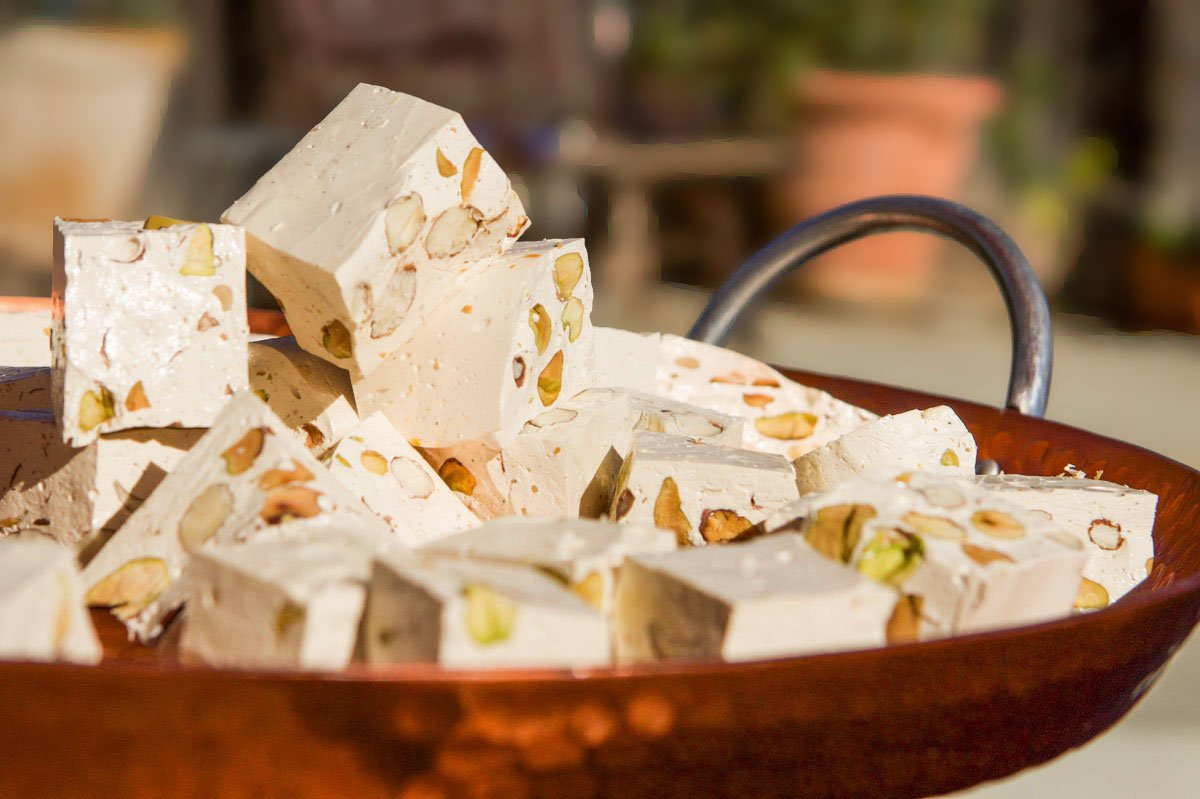 nougat cut in squares on a tray
