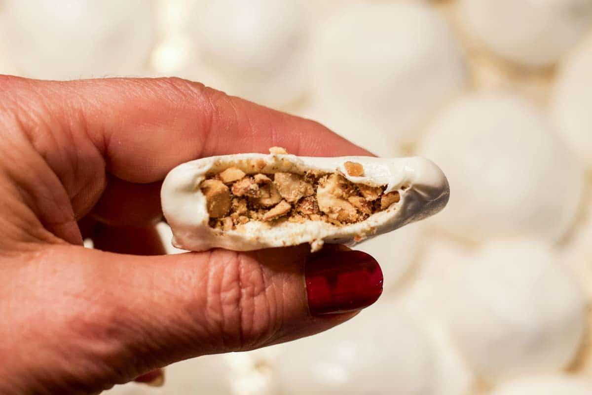 mann al sama (Iraqi nougat) with a bite taken out of it