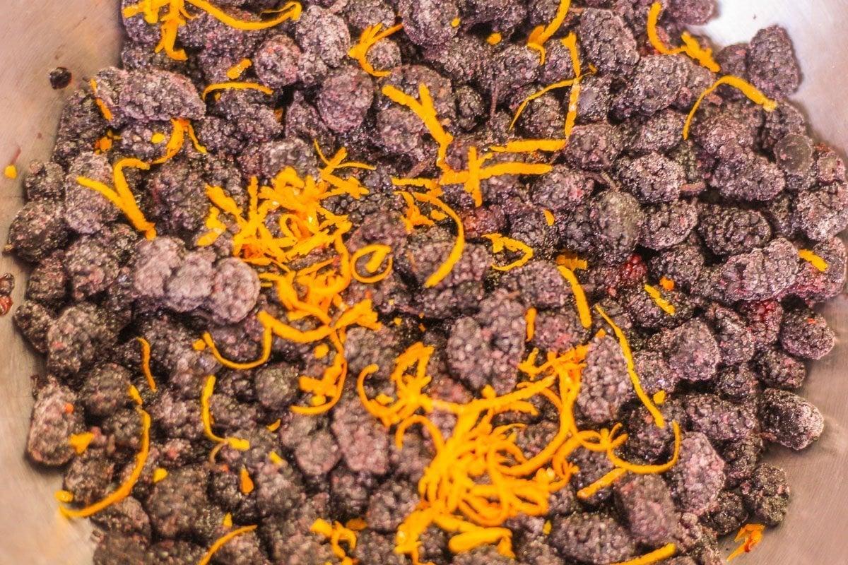 mulberries and orange zest