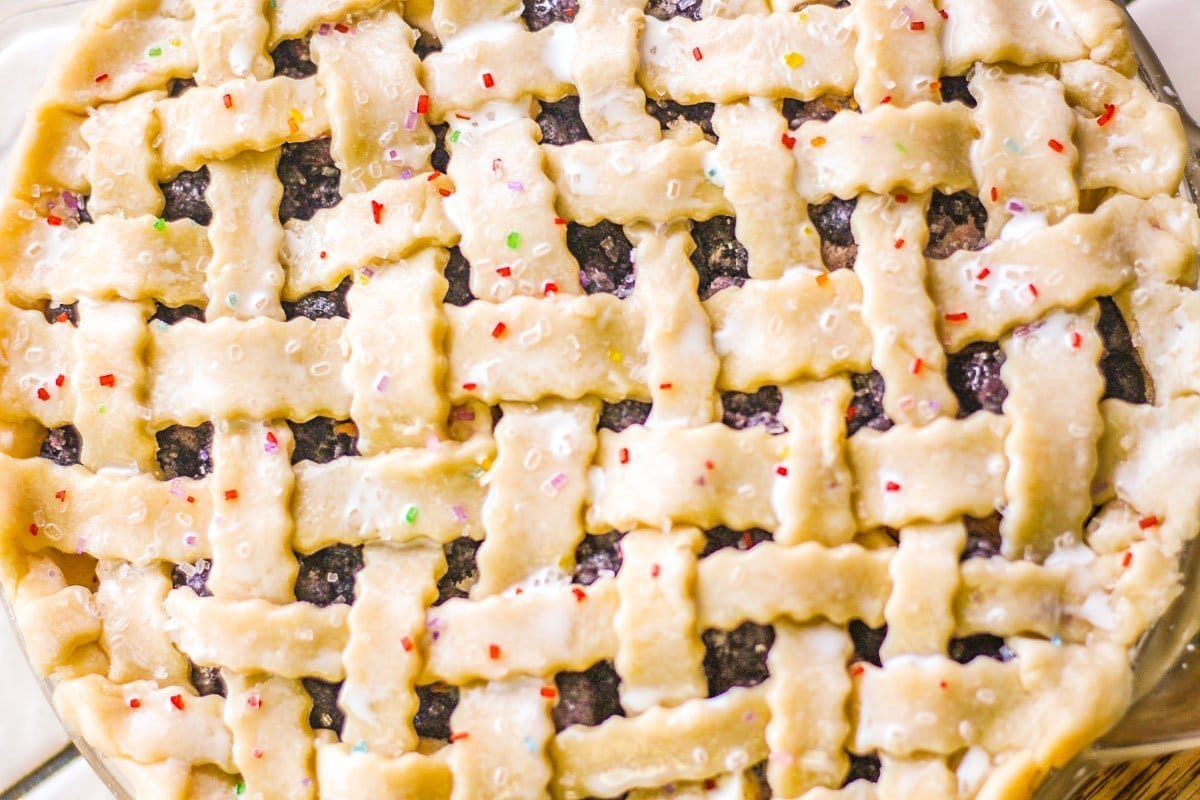 mulberry pie sprinkled with colorful sugar