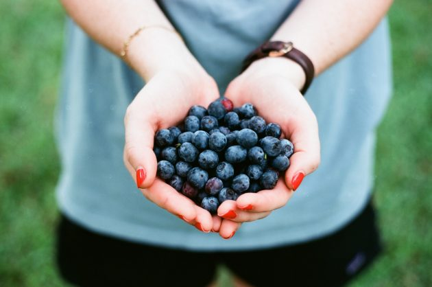 a lady holding blueberries in her cupped hands