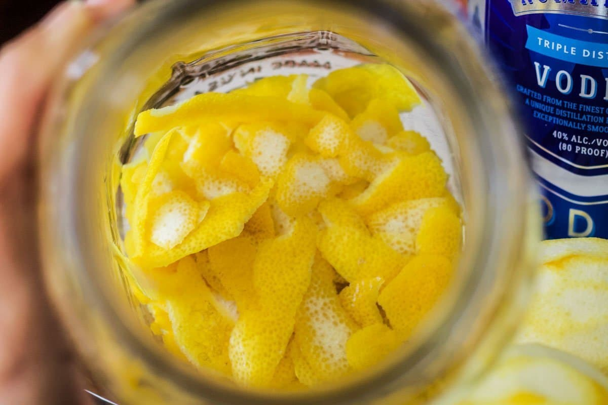 lemon peels in a jar
