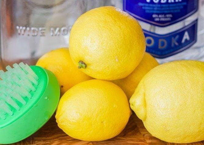 lemons with a scrub brush