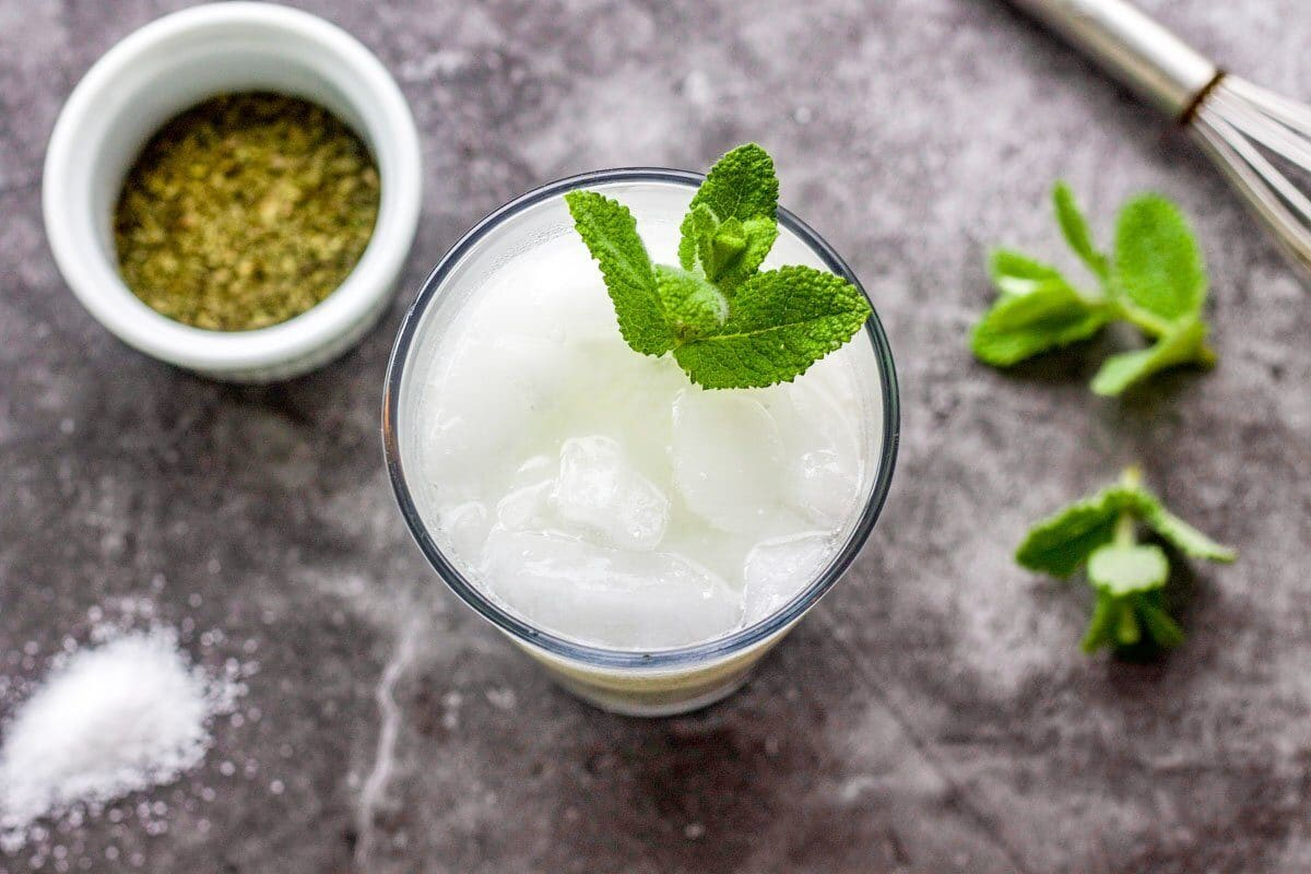 yogurt drink in a glass with mint