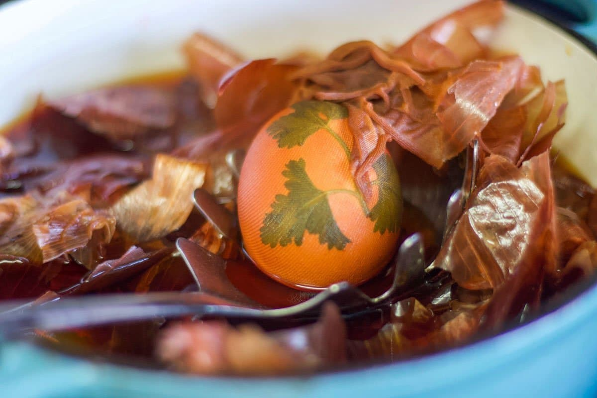 Easter eggs in a pot of onion skins