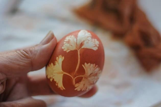holding a red Easter egg with parsley leaf imprint