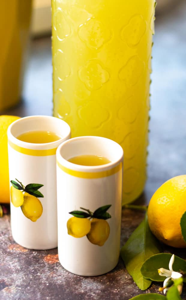 limoncello with 2 shot glasses