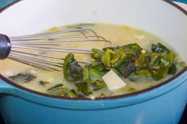 soup in a blue pot