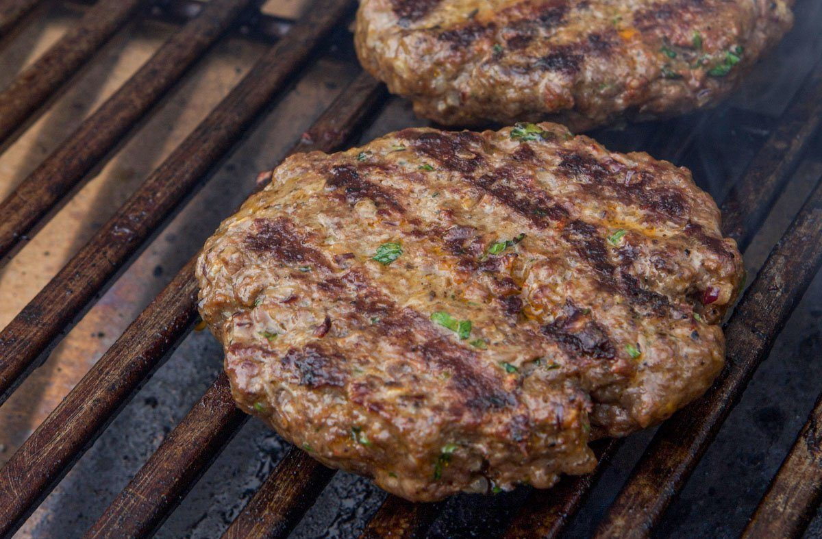 elk burgers on the grill