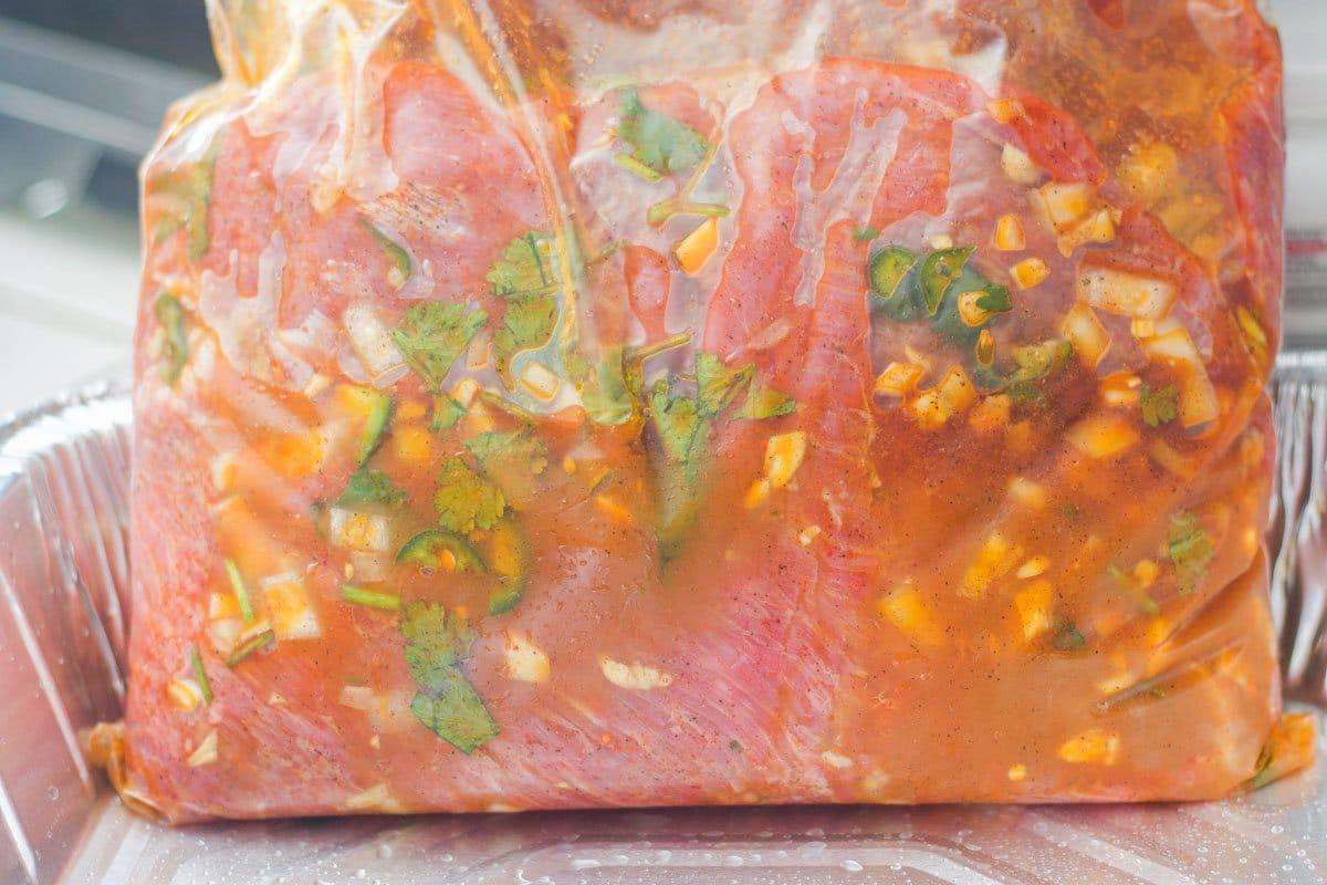mexican carne asada marinade in a plastic bag