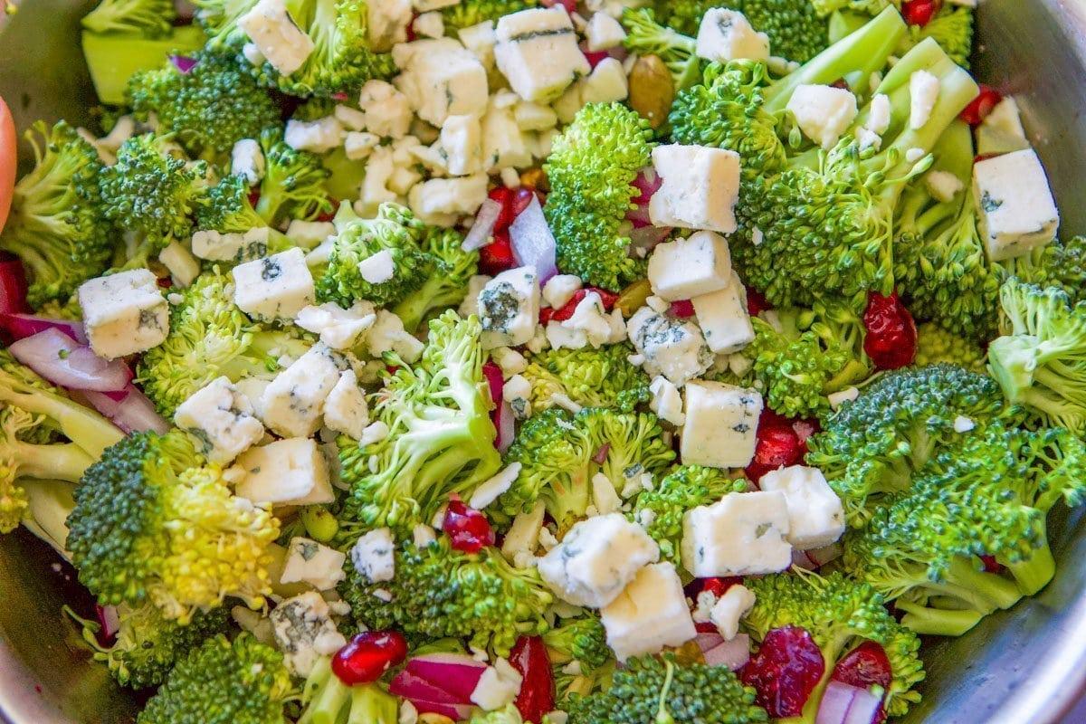 healthy broccoli salad in a silver bowl