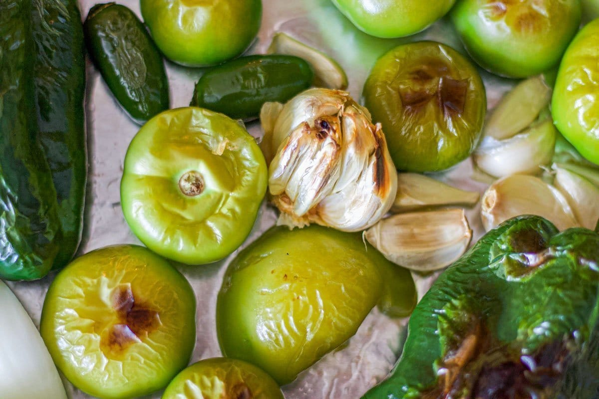 broiled tomatillos, peppers, garlic, and onions
