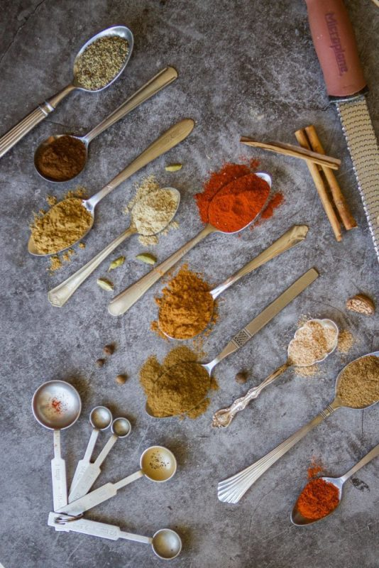 baharat spices in spoons