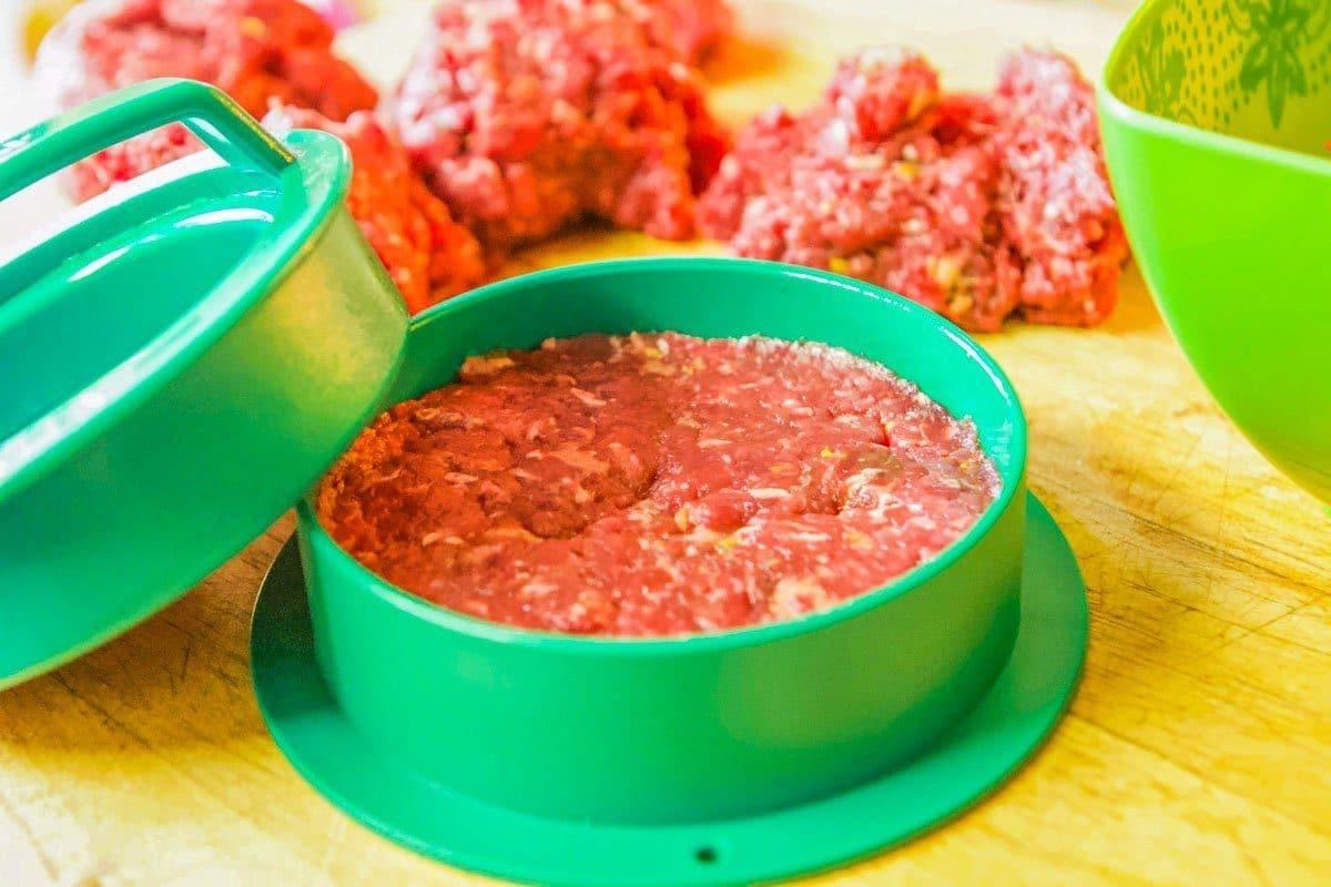 meat in burger press